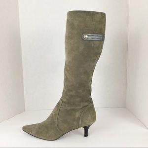 Anne Klein Grey Suede Kitten Heel Boots